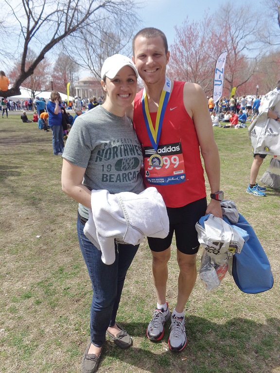 Platte County High School teacher/coach Zach Keith, right, and his wife, Amanda smiled for the camera moments after Keith ran the 2014 Boston Marathon last week.