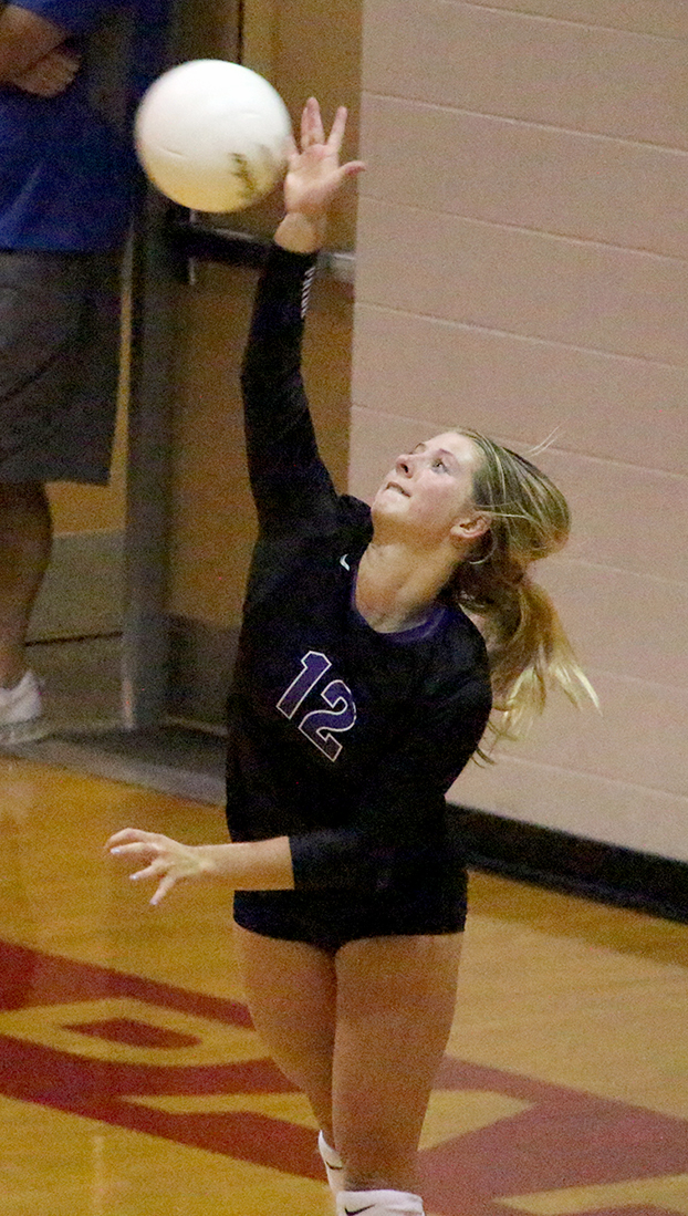 BRYCE MERENESS/Citizen photo Park Hill South junior Andi Elley hits a serve during a September matchup with Park Hill at Park Hill High School. Elley earned a spot on the Class 4 Missouri High School Volleyball Coaches Association all-state second team. She helped the Panthers to a 29-6-1 record in 2015.