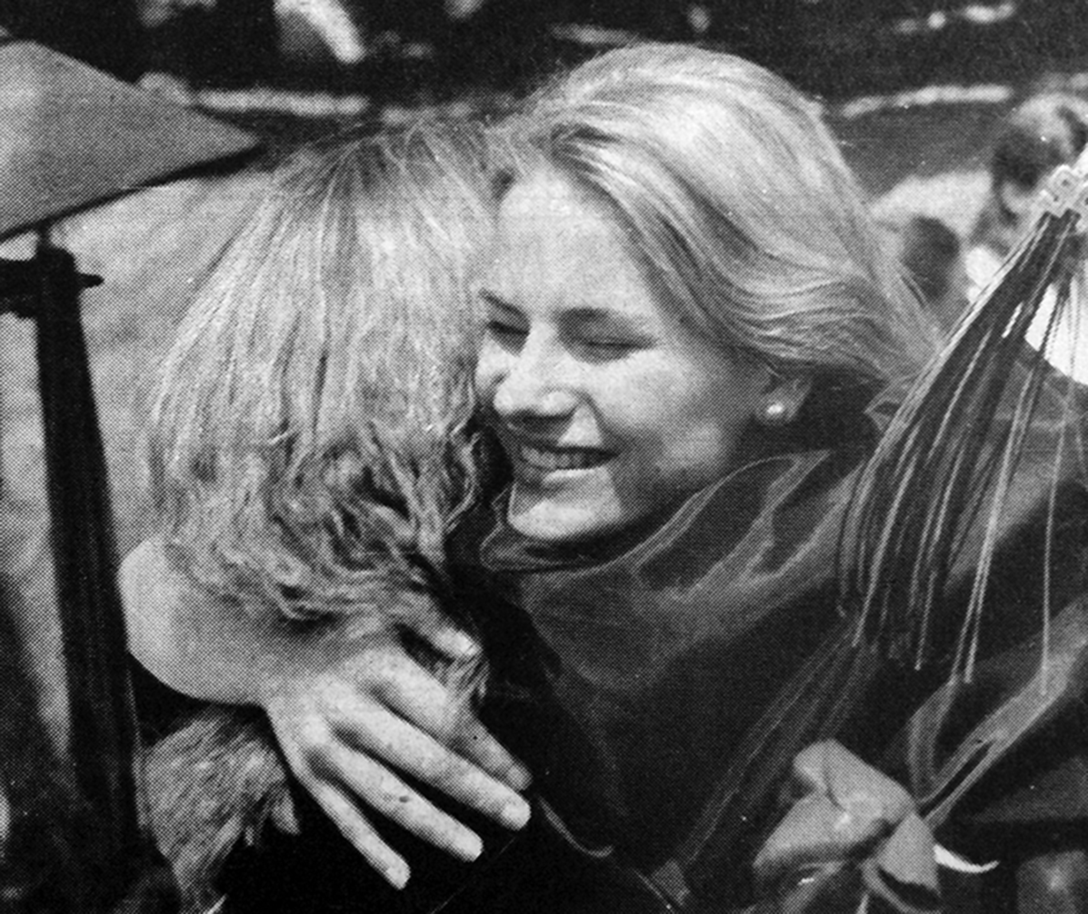 Citizen file photo Anne Swaney hugs a fellow graduate following Platte County's 1994 graduation ceremony. She was salutatorian of her class.