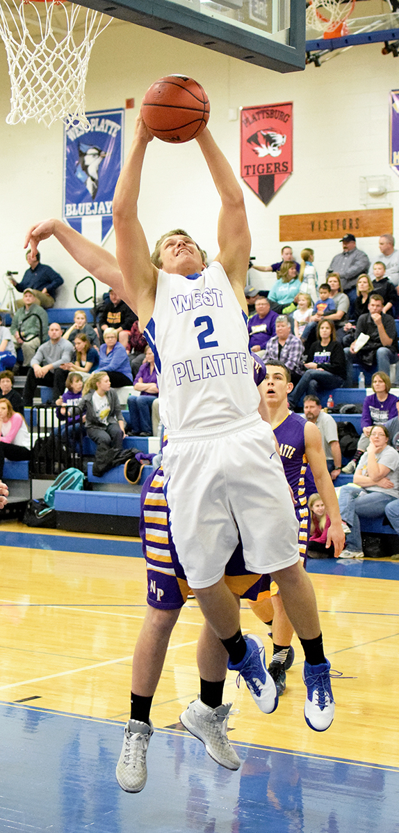 BRYCE MERENESS/Citizen photo West Platte senior forward Brett Shepardson goes up for a shot against North Platte on Friday, Jan. 8 at West Platte High School in Weston, Mo.