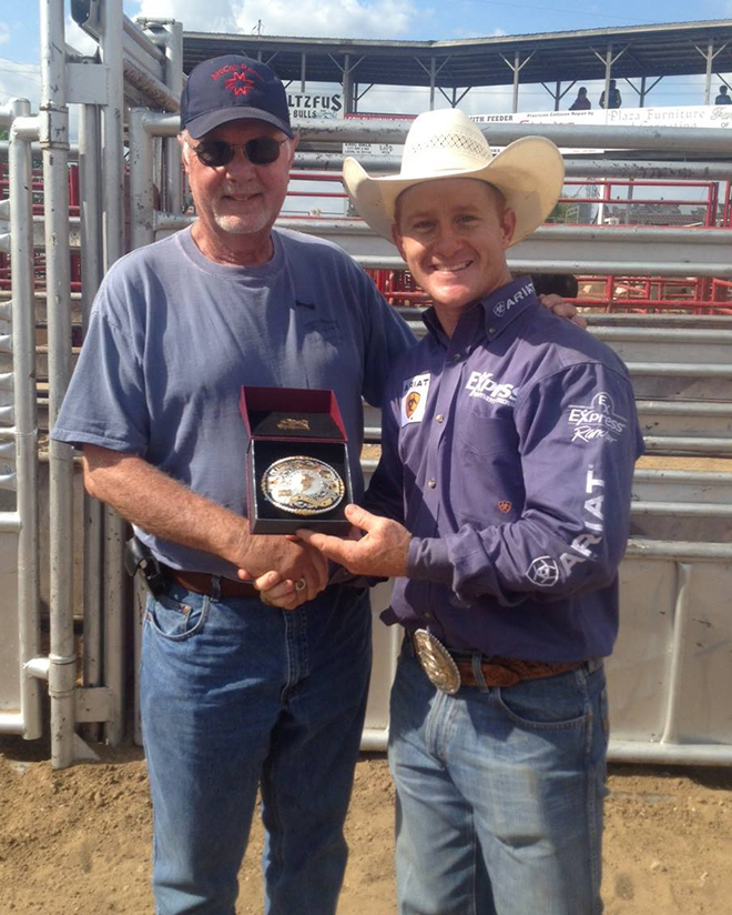 BRYCE MERENESS/Citizen photo Platte City resident Tim Dougherty, left, and retired professional bull rider Cord McCoy are partners in owning and raising bulls for competition. Dougherty also owns RE/MAX Homes Center in Platte City. McCoy houses and trains the bulls in Tupelo, Okla.