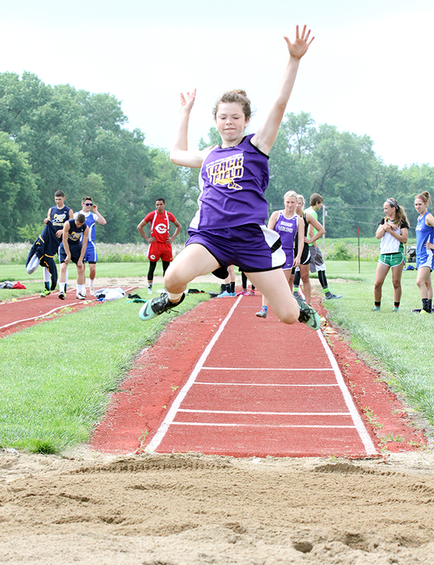 ADAM JOHNSON/Citizen photo North Platte junior Callie Pataluna attempts a long jump during the Class 2 Sectional 4 meet held Saturday, May 16 at Wayne & Doris Guess Sports Complex in Albany, Mo.