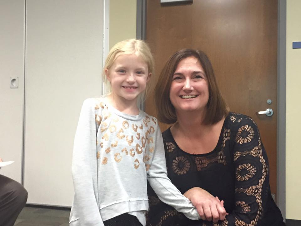 Contributed photo Platte County R-3 first grade student Caroline Linn and district administrator Jen Beutel