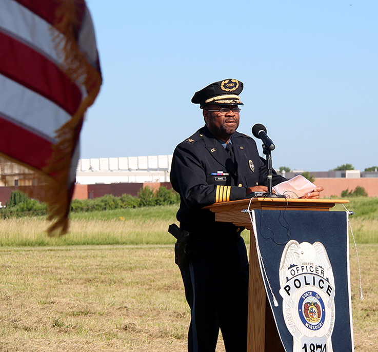 ROSS MARTIN/Citizen photo Kansas City Police chief Darryl Forte speaks to the assembled crowd during a groundbreaking ceremony for the department's new North Patrol headquarters held Friday, July 17 in Kansas City, Mo.