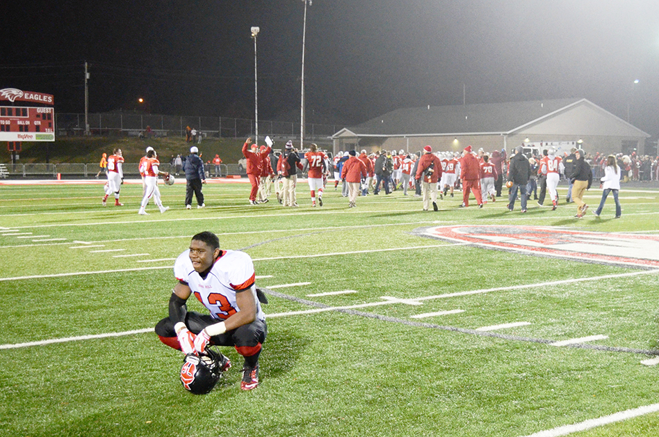 LEN LEHMANN/Special to The Citizen Park Hill senior linebacker Jamaal Brazil reacts following the Trojans' 22-10 Class 5 semifinal loss agaiinst Nixa on Nov. 21 at Nixa High School in Nixa, Mo. Park Hill ended its season at 12-1, tied for the most wins in a single season in school history.