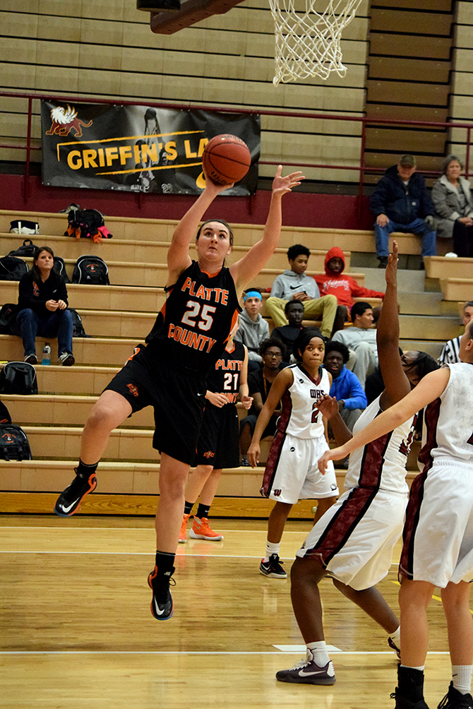 Platte County senior forward Rachel Holden goes up for a layup against Winnetonka on Monday, Nov. 30 at Winnetonka High School in Kansas City, Mo.