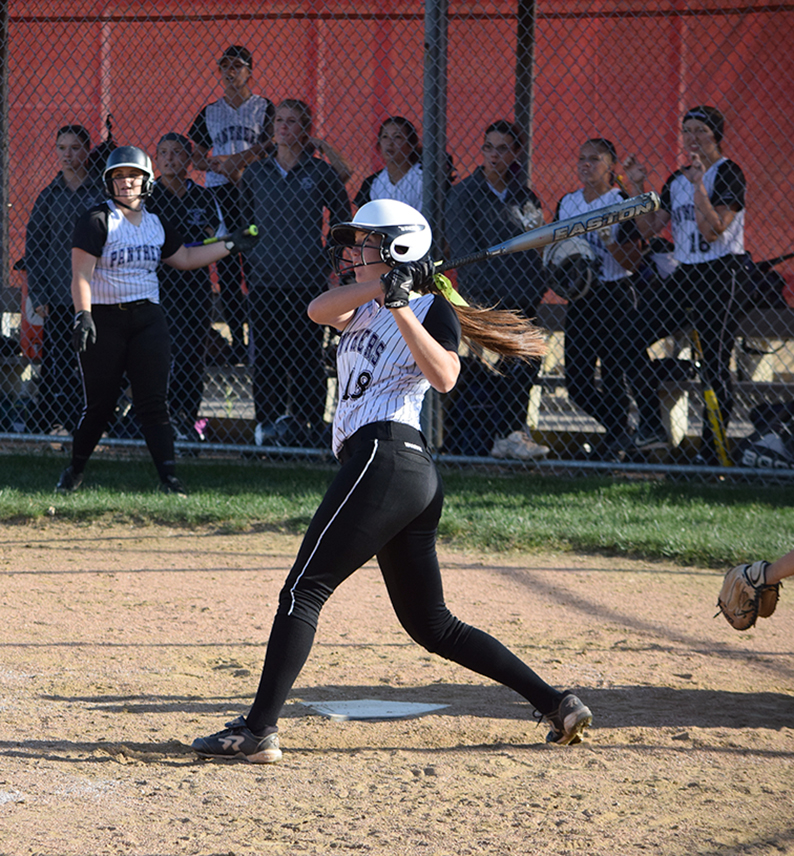 BRYCE MERENESS/Citizen photo Park Hill South senior outfielder Kylie DeClue watches her home run in the third inning of the Class 4 District 16 championship game against Staley on Friday, Oct. 9 at Park Hill High School in Kansas City, Mo.