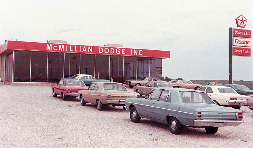 Platte City businessman George McMillian opened a Dodge dealership on old U.S. 71 Highway just south of Platte City in the fall of 1968 at the same location. Concrete footings from the old dealership's building still exist on the lot.