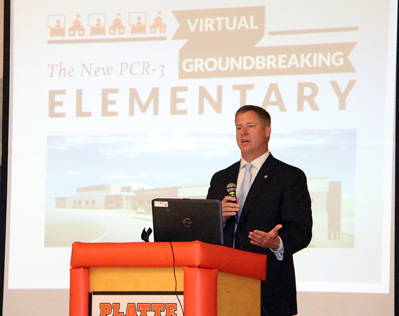 Platte County R-3 superintendent Dr. Mike Reik speaks during a virtual groundbreaking ceremony held Wednesday, June 17 at Siegrist Elementary. The program provided an update on the district's new elementary building, which is currently under construction.