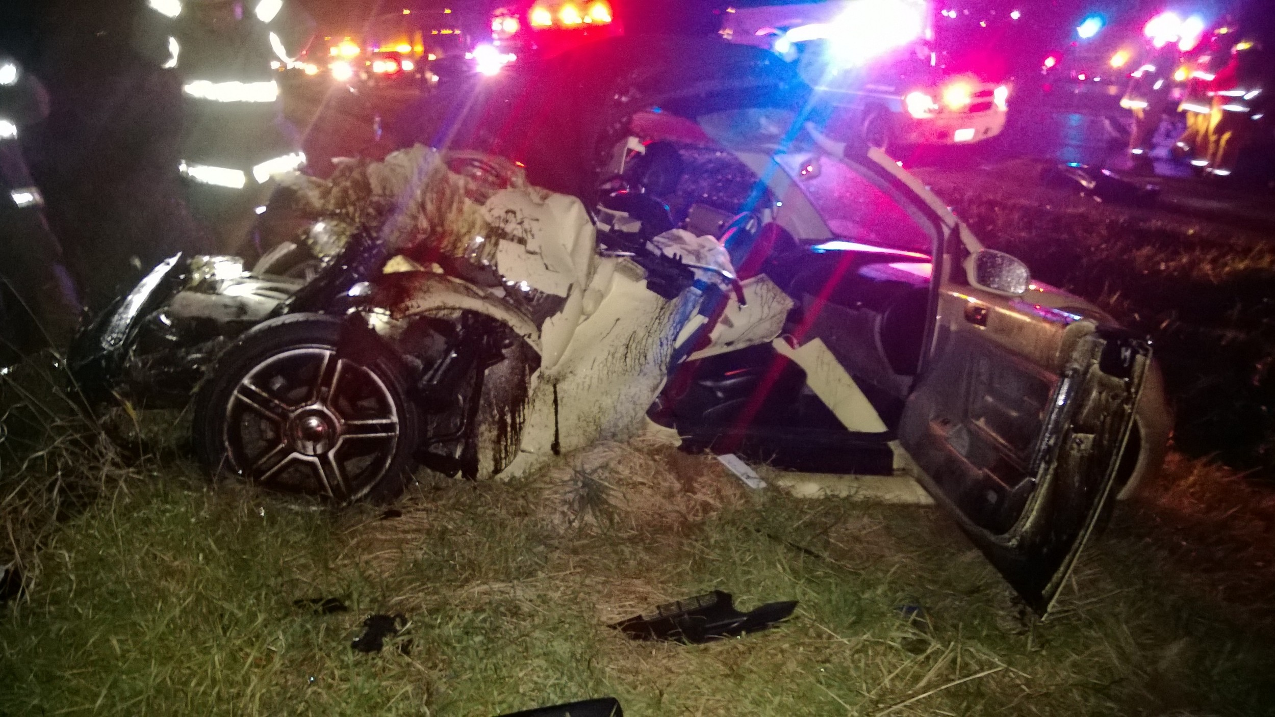 This was all that was left of a 2004 Volkswagen that was struck by a semi truck during a major traffic accident on Interstate 29 north of Platte City Monday night. The driver of the vehicle was seriously injured and transported to an area hospital.
