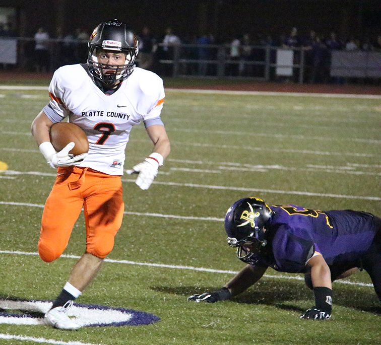ROSS MARTIN/Citizen photo Platte County wide receiver TJ Guillory runs after a catch Sept. 26 at Southwick Stadium in Belton, Mo. Platte County improved to 6-0 with a 40-8 win. Guillory finished the game with four catches for 67 yards.
