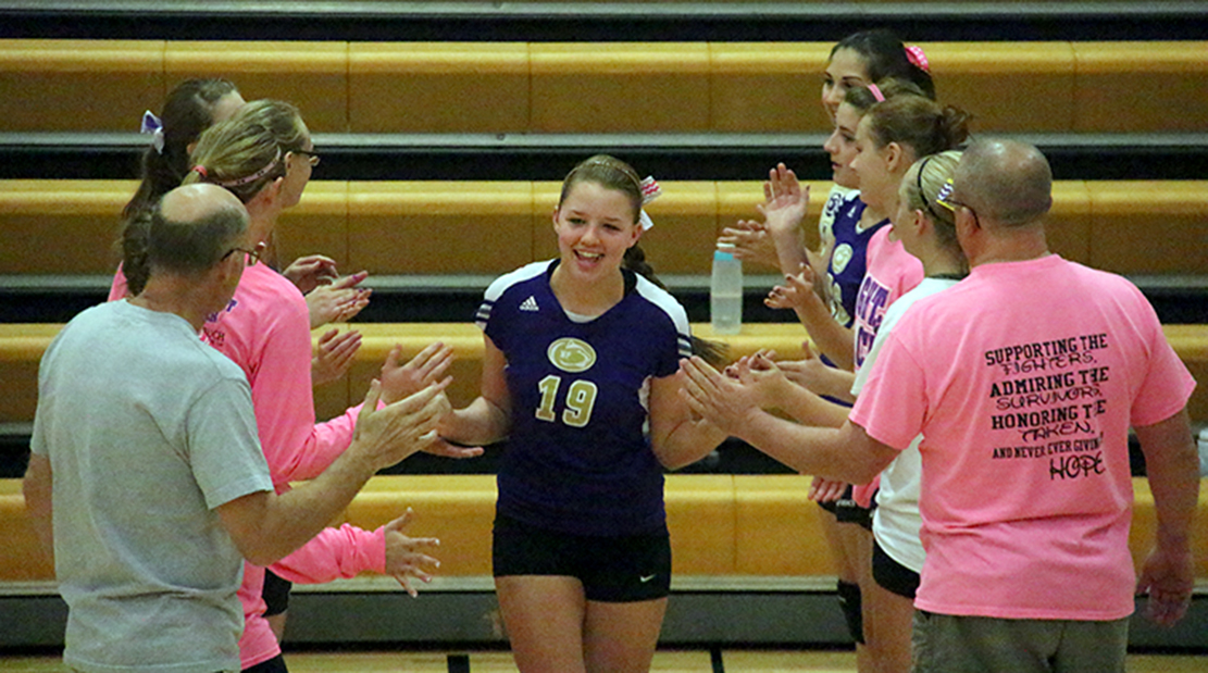 ROSS MARTIN/Citizen photo North Platte senior Katie Heese (19) gets introduced before the Panthers Oct. 1 match against East Buchanan at North Platte High School in Dearborn, Mo. Heese was recently named to the Missouri High School Volleyball Coaches Association all-state team, the first player from North Platte to receive the honor.