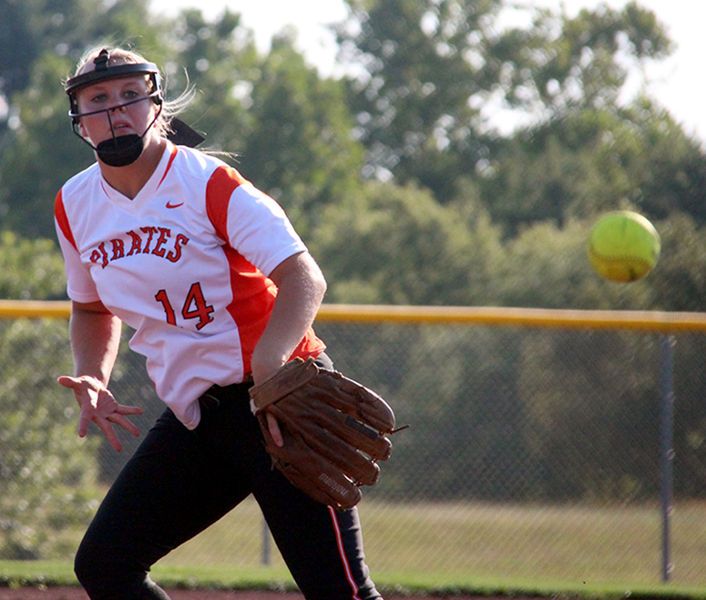 Platte County senior pitcher Mallory Stoner delivers a pitch Wednesday, Aug. 2 against Blue Springs South at Platte County High School.