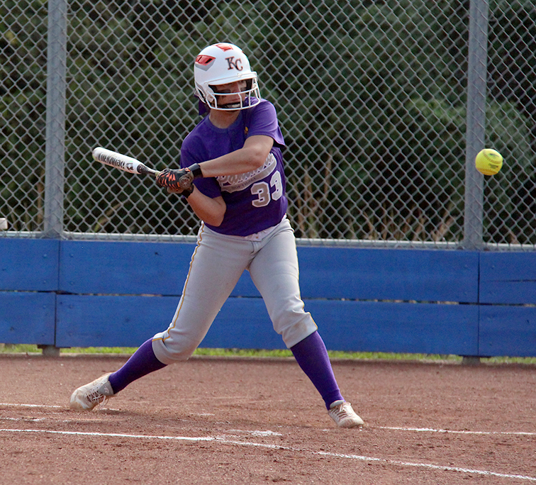 ROSS MARTIN/Citizen photo North Platte senior Kaycee Hodgson starts to swing at a pitch Thursday, Sept. 10 against West Platte at Benner Park in Weston, Mo.