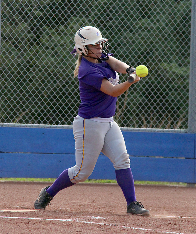 ROSS MARTIN/Citizen photo North Platte senior Martina Williams makes contact with a pitch in a game against West Platte on Thursday, Sept. 10 at Benner Park in Weston, Mo.