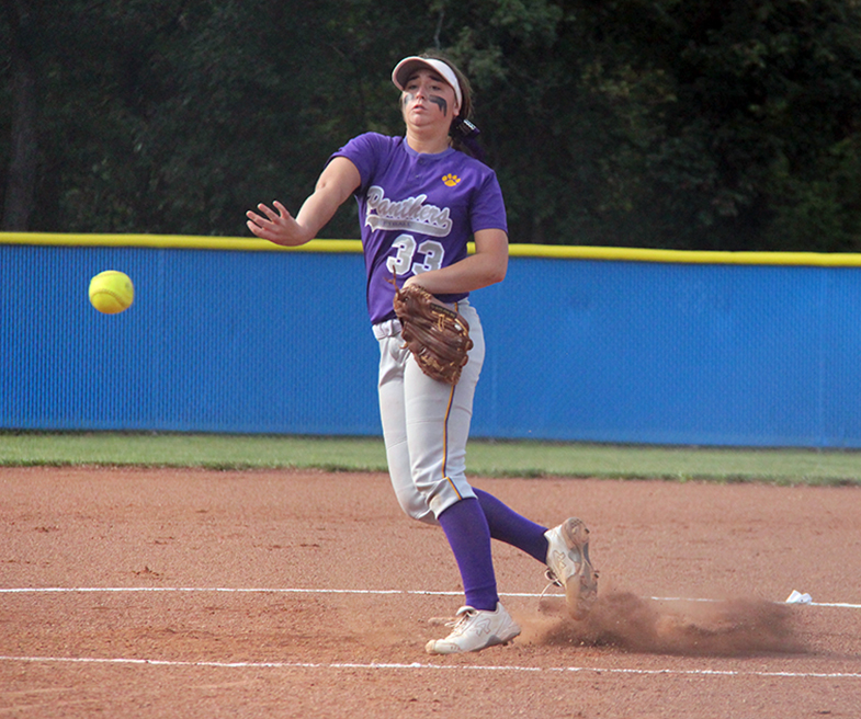 ROSS MARTIN/Citizen photo North Platte senior Victoria Haugsness releases a pitch Thursday, Sept. 10 against West Platte at Benner Park in Weston, Mo.