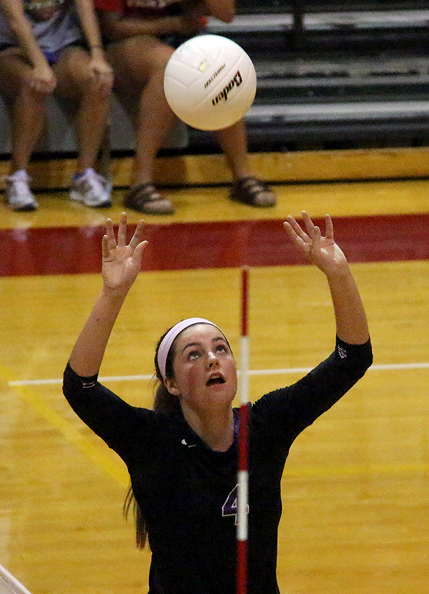ROSS MARTIN/Citizen photo Park Hill South setter Allison Sadler sets up a pass during a match on Thursday, Sept. 10 at Park Hill High School in Kansas City, Mo. Park Hill South defeated rival Park Hill in straight sets.