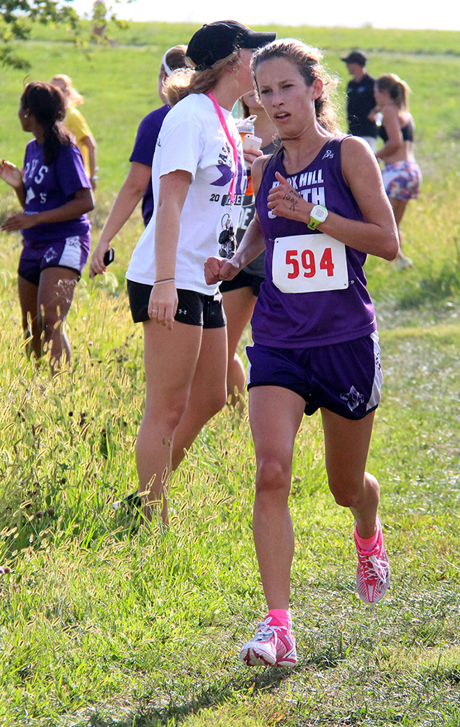 ROSS MARTIN/Citizen photo Park Hill South sophomore Lexi Maddox runs the course during the Platte County Invitational on Thursday, Sept. 17 at Platte Ridge Park.