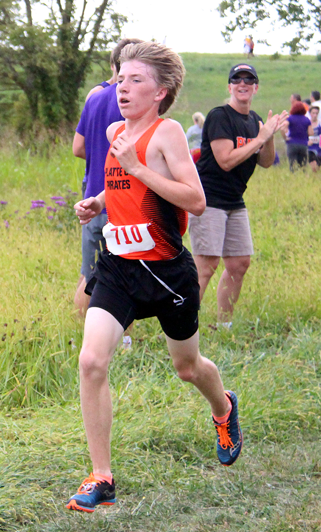 ROSS MARTIN/Citizen photo Platte County freshman Jackson Letcher sprints to a 10th-place finish in the Platte County Invitational on Thursday, Sept. 17 at Platte Ridge Park.