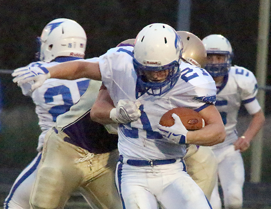 ROSS MARTIN/Citizen photo West Platte running back Justin Rhodes fights through a tackle against North Platte on Friday, Sept. 18 at North Platte High School in Dearborn, Mo.