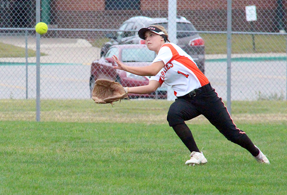 ROSS MARTIN/Citizen photo Platte County center fielder Alexis Ray goes to make a catch during a game against Lee's Summit West on Wednesday, Sept. 23 at Platte County High School.