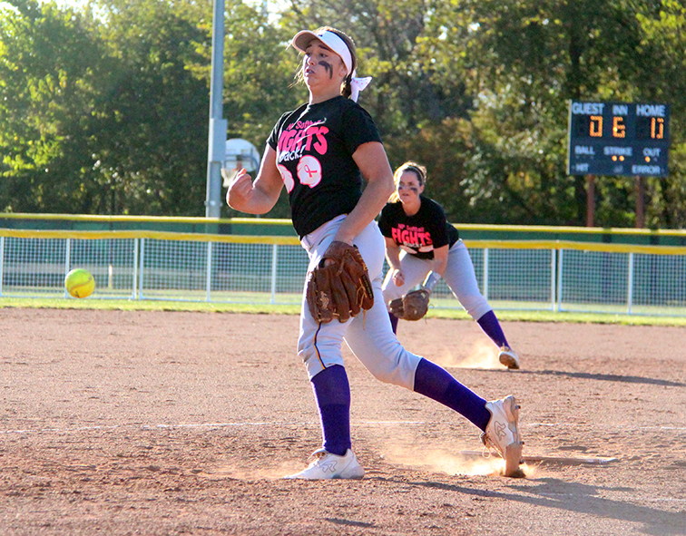 ROSS MARTIN/Citizen photo North Platte senior Victoria Haugsness delivers a pitch against Hamilton on Thursday, Oct. 1 at Dean Park in Dearborn, Mo.