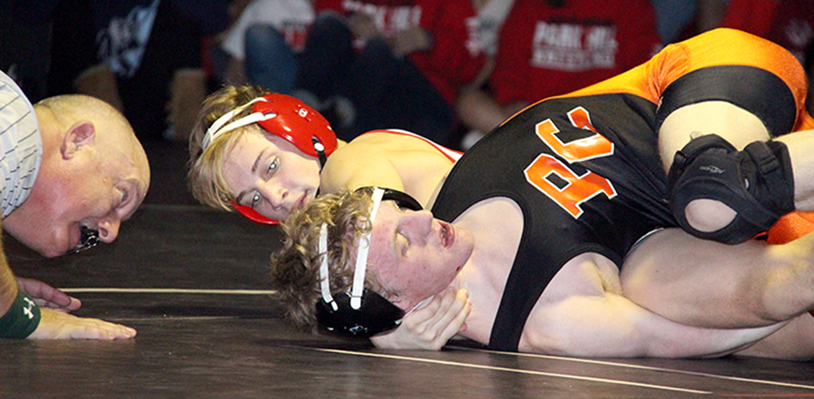 ROSS MARTIN/Citizen photo Park Hill sophomore Weston DiBlasi, rear, tries to pin Platte County's Trey Dockery during the second period of a 126-pound match in a dual Thursday, Jan. 14 at Park Hill High School in Kansas City, Mo.