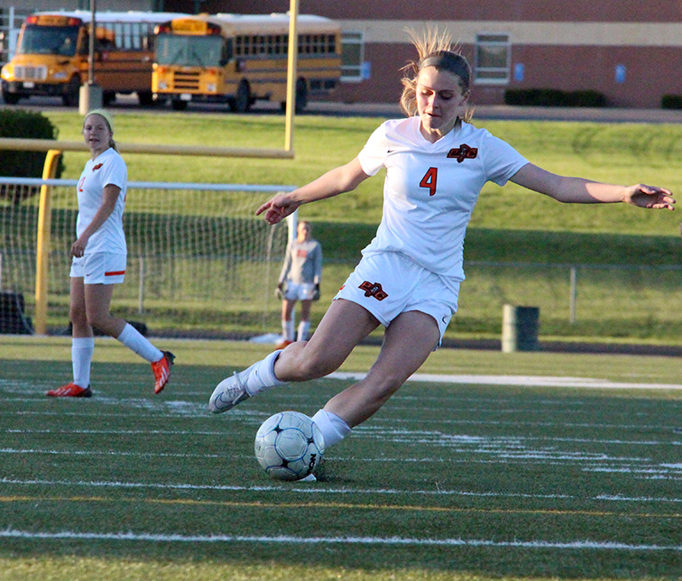 ROSS MARTIN/Citizen photo Platte County freshman midfielder Hanna Hall winds up for a shot during the second half of a Class 3 District 16 matchup with St. Joseph Lafayette on Monday, May 18 at Smithville High School in Smithville, Mo.