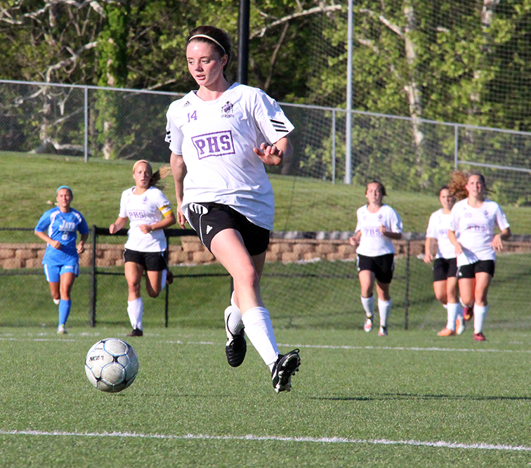 ROSS MARTIN/Citizen photo Park Hill South forward Meghan Jones dribbles toward the box during the Class 4 District 15 championship game against Liberty on Thursday, May 21 at Park Hill District Soccer Complex in Riverside, Mo.