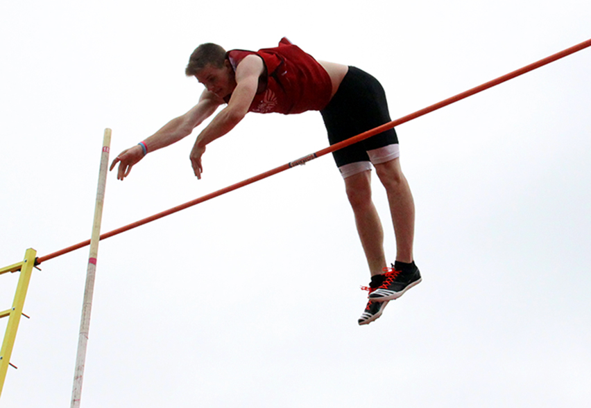 ROSS MARTIN/Citizen photo Park Hill junior Chris Nilsen clears 16-feet during the pole vault at the Class 5 Sectional 4 meet on Saturday, May 23 at North Kansas City District Activities Complex in Kansas City, Mo.