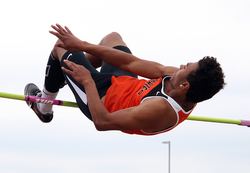 ROSS MARTIN/Citizen photo Platte County senior Aliek Reed clears the bar in the high jump during the Class 4 Sectional 4 meet Saturday, May 23 at North Kansas City District Activities Complex in Kansas City, Mo.