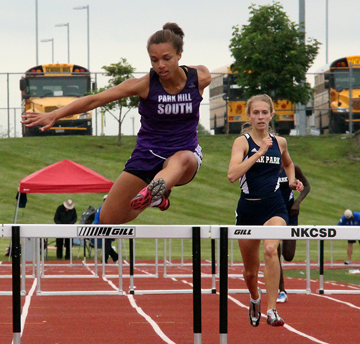 ROSS MARTIN/Citizen photo Park Hill South senior Jordan Hammond leaps in the 300-meter hurdles race during the Class 5 Sectional 4 meet Saturday, May 23 at North Kansas City District Activities Complex in Kansas City, Mo.