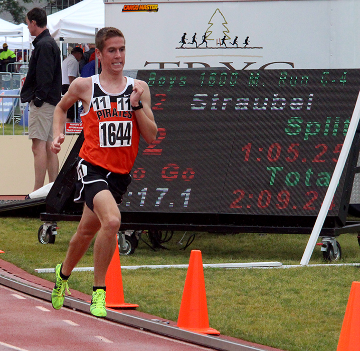 ROSS MARTIN/Citizen photo Platte County senior Nathan Straubel runs in the 1,600-meter run on Friday, May 29.