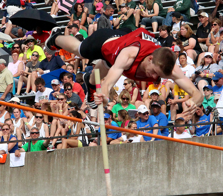 ROSS MARTIN/Citizen photo Park Hill junior Chris Nilsen clears the pole vault bar on Friday, May 29 during the Class 5 Missouri State Track and Field Championships at Dwight T. Reed Stadium in Jefferson City, Mo. Nilsen was assured the championship after clearing 15 feet, 6 inches, but continued jumping to set a new state record at 17 feet.