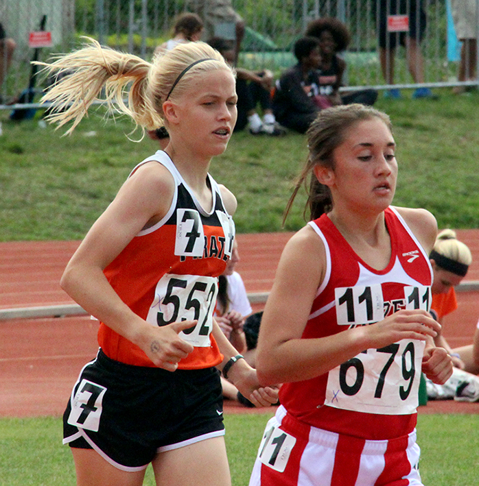 ROSS MARTIN/Citizen photo Platte County freshman Rebekah Geddes competes in the 3,200-meter run on Friday, May 29 during the Class 4 Missouri State Track and Field Championships at Dwight T. Reed Stadium in Jefferson City, Mo.