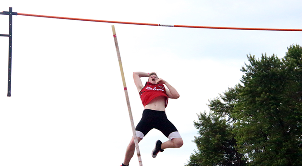 ROSS MARTIN/Citizen photo Park Hill junior Chris Nilsen clears a Missouri State Track and Field Championships record height during the Class 5 pole vault competition Friday, May 29 at Dwight T. Reed Stadium in Jefferson City, Mo.