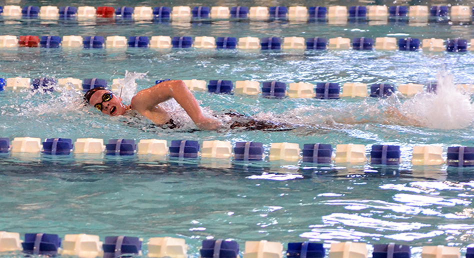 BRYCE MERENESS/Citizen photo Platte County sophomore Hailee Baer competes in the Suburban League Blue Division meet Saturday, Feb. 7 at Gladstone Community Center in Gladstone, Mo.