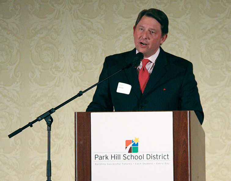 ROSS MARTIN/Citizen photo Local TV personality Leif Lisec speaks to the crowd following his induction into the Park Hill Alumni Hall of Fame during a ceremony Monday, Jan. 26 at the KCI Hilton in Kansas City, Mo. He was one of six inductees.