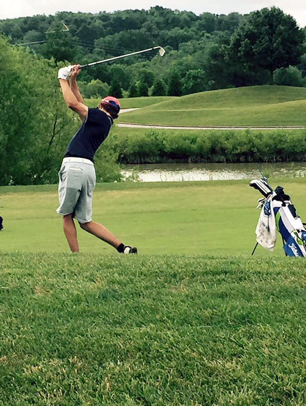 Submitted photo West Platte junior Luke Horseman hits an iron shot in a round this summer. Horseman made the cut at the Missouri Stroke Play Championship at the St. Joseph Country Club last week and recently recorded his first career hole-in-one.