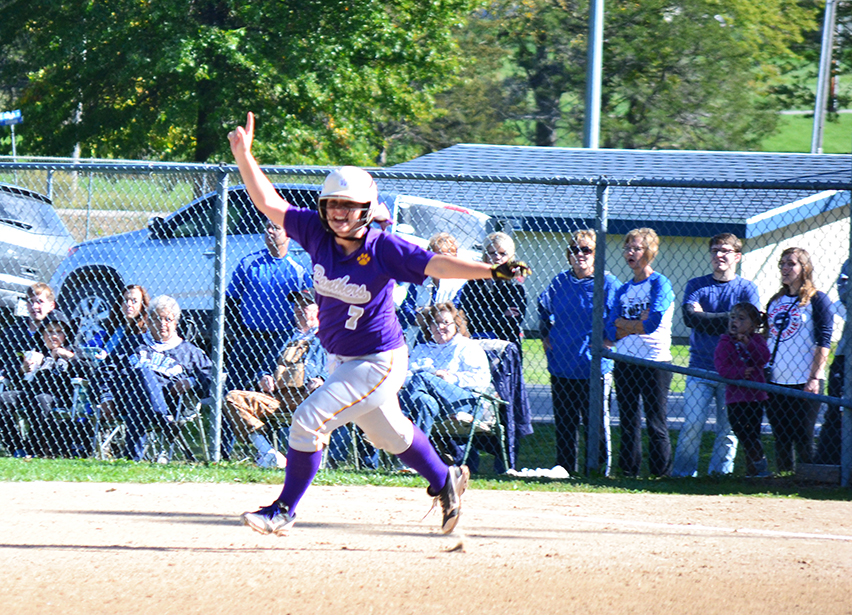 BRYCE MERENESS/Citizen photo North Platte catcher Martina Williams celebrates a home run she hit Saturday, Oct. 18 at Rusk Park in Brookfield, Mo. in a Class 2 quarterfinal.