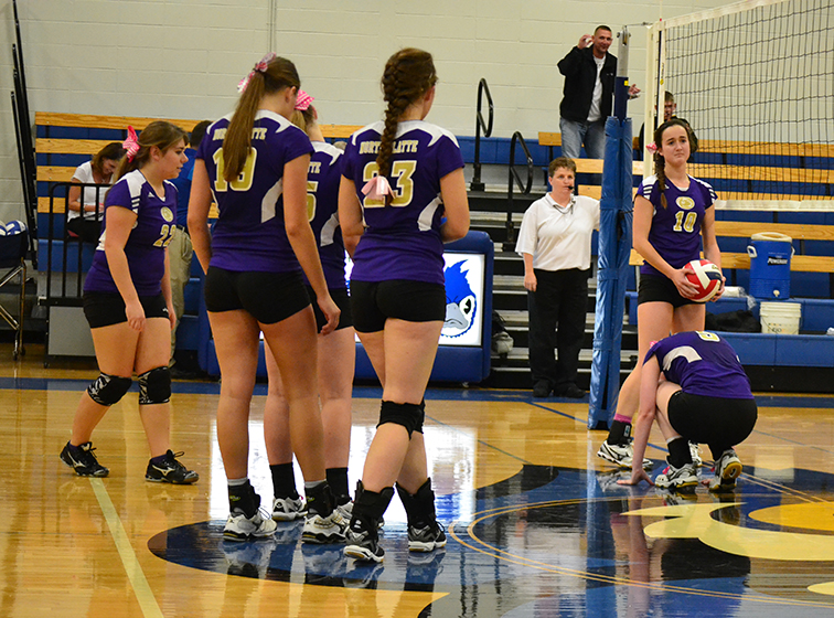 BRYCE MERENESS/Citizen photo North Platte players react after the final point in a two-set loss to KC Lutheran in the Class 1 District 15 championship match Oct. 22 at West Platte High School in Weston, Mo.