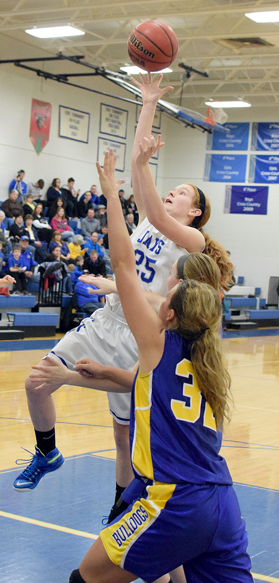 BRYCE MERENESS/Citizen photo West Platte junior Nealie Niemeyer elevates for a shot over an East Buchanan defender in a KCI Conference matchup on Friday, Feb. 5 at West Platte High School in Weston, Mo.
