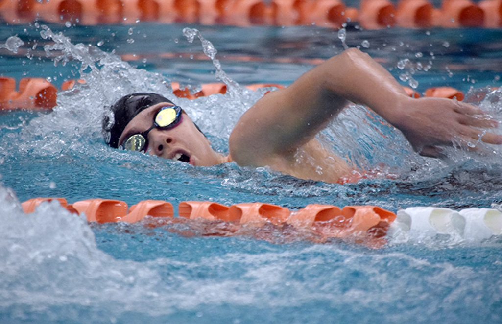 BRYCE MERENESS/Citizen photo Platte County junior Olivia Forrester swims in the 200-yard freestyle during the first Platte County Invitational held Saturday, Jan. 23 at Platte County Community Center North in Platte City.