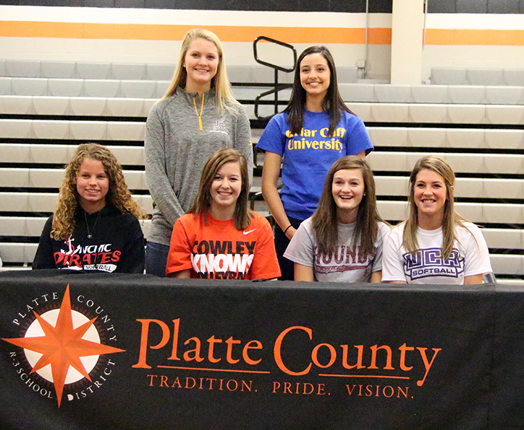 ROSS MARTIN/Citizen photo Platte County held a ceremony Nov. 19 at Platte County High School to honor six seniors set continue their athletic careers in college. Front row (from left to right): Courtney Seymour, Teryn Scott, Mickey Trimble and Jessie Hoover. Back row: Maren Mair and Mellissa Ditter.