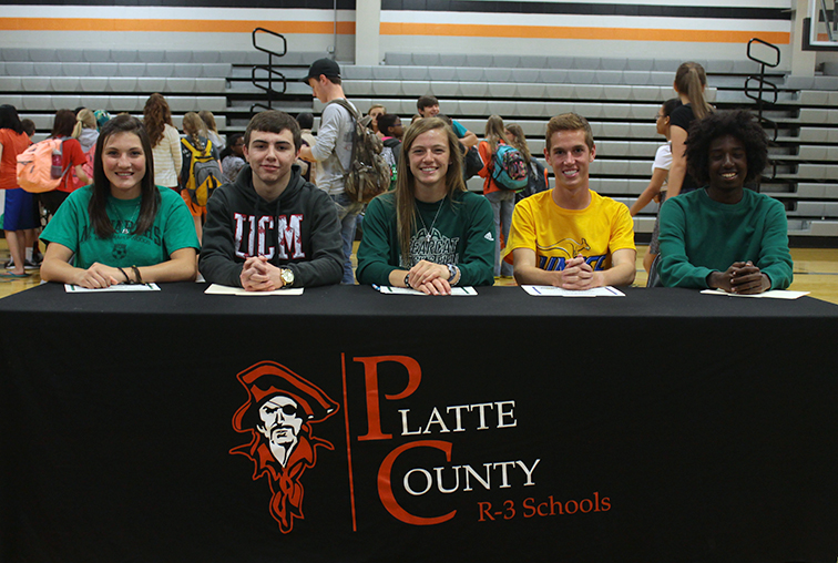 Contributed photo Platte County seniors, from left, Nicole Larson, Caleb Crabtree, Shelly Laures, Nathan Straubel and Eyob Mohamed recently signed national letters of intent to compete in athletics at the collegiate level at a ceremony on Wednesday, May 6 at Platte County High School.