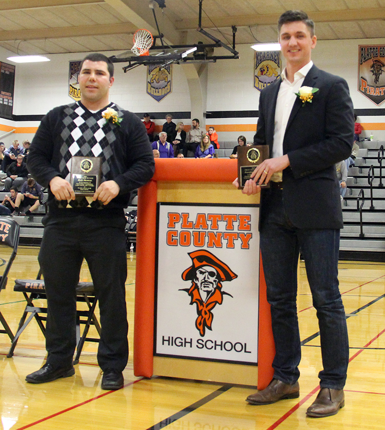 ROSS MARTIN/Citizen photo Zach Sherman (Class of 2002), left, and Brandon Gutshall (Class of 2001), right, were inducted into the Pirate Hall of Fame during a ceremony Thursday, Jan. 28 at Platte County High School. Both were standout athletes who helped the Pirates win state championships. Arvid Johnson, a 1961 graduate, was also honored but unable to attend.