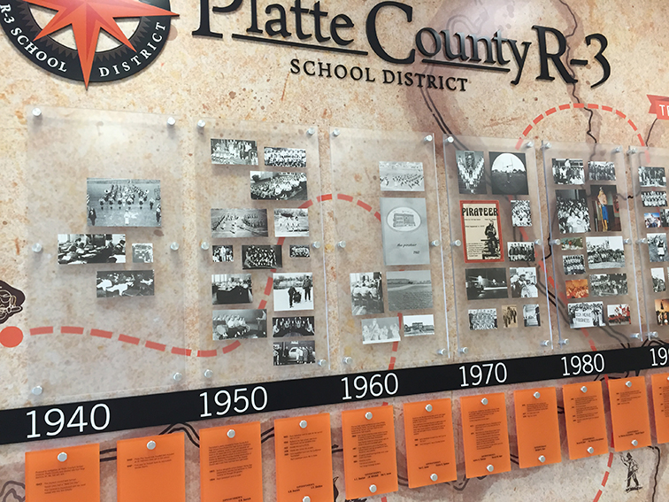Contributed photo The Piratology group's timeline display highlighting the history of the Platte County R-3 School District was recently completed inside the high school.