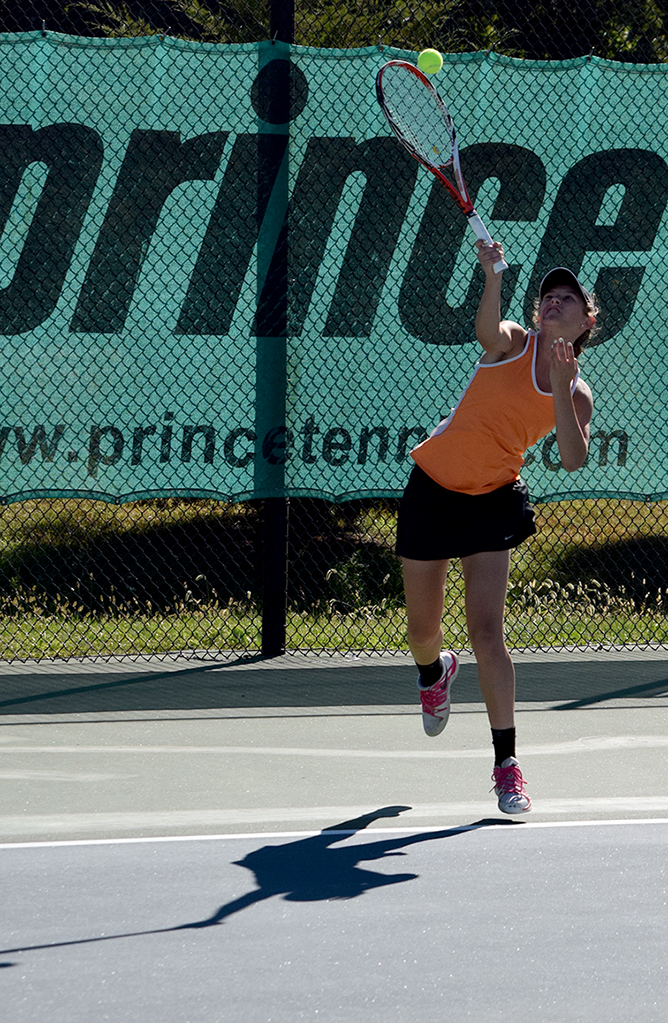 BRYCE MERENESS/Citizen photo Platte County junior Rachel Valentine hits a serve during the Class 2 District 16 singles championship match held Friday, Oct. 2 at Clayview Country Club in Kansas City, Mo.
