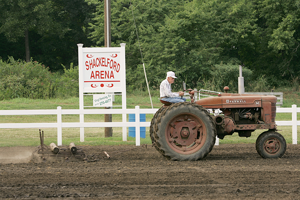 Keith Myers/Special to The Citizen Ralph Shackelford, seen here working the livestock arena at the Platte County Fairgrounds in Tracy, Mo. named in his honor, died last week at the age of 97. He was one of the oldest living veterans of World War II in the state.