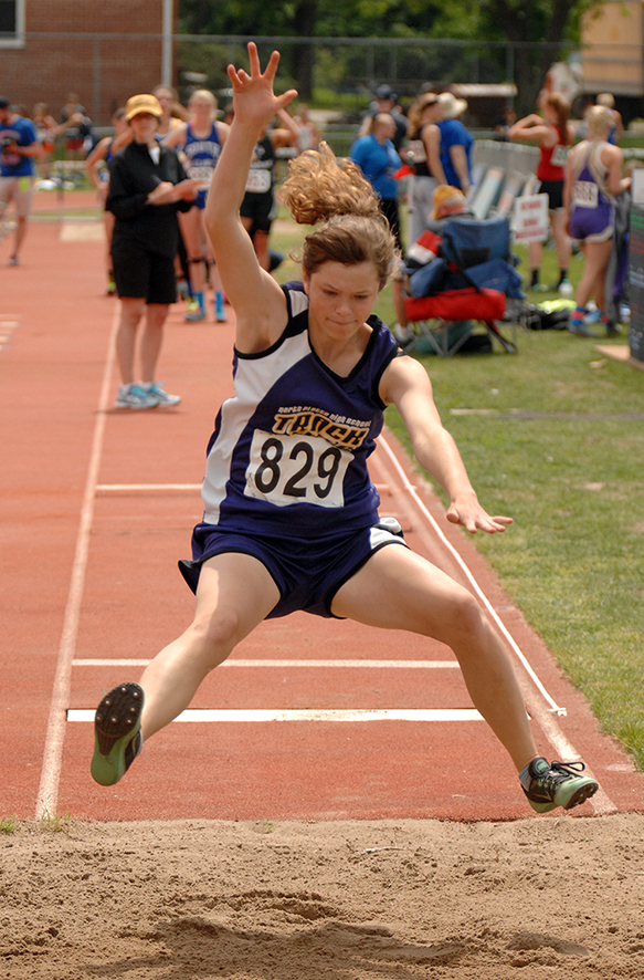 WC FARMER/Citizen photo North Platte's Callie Pataluna competes in the long jump during the Class 2 Missouri State Track and Field Championships.
